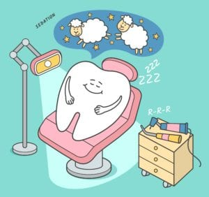 Cartoon of a giant tooth sleeping in the dental chair