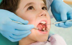 Child getting dental care